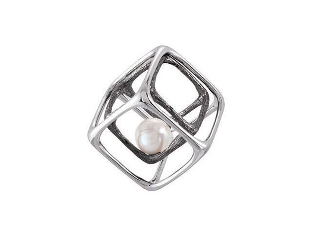 Genuine Sterling Silver White Pearl Cube Pendant with a chain