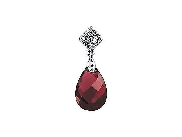14 Karat White Gold Garnet & Diamond Pendant with a chain