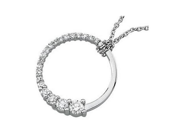 14 Karat White Gold Diamond Journey Pendant with a chain