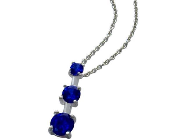Genuine Sterling Silver Created Sapphire Past Present Future Pendant with a chain