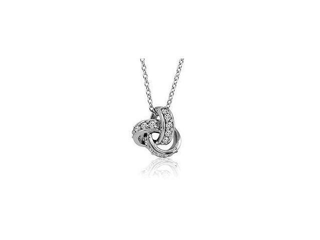 Sterling Silver Love Knot Cubic Zirconia Pendant with a chain.