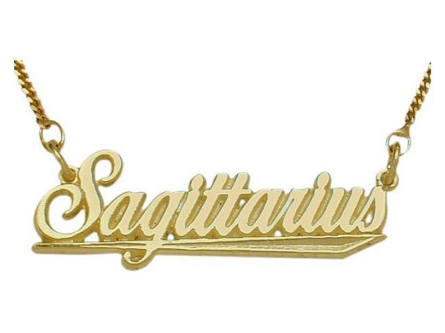 10K Yellow Gold Sagittarius Script Zodiac Pendant Nov 23-De22 with Chain