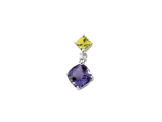 14 Karat White Gold Gold Multicolor Gemstone & Diamond Pendant with a chain