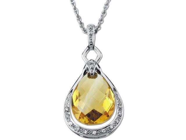 14 Karat White Gold Genuine Citrine & Diamond Pendant with a chain