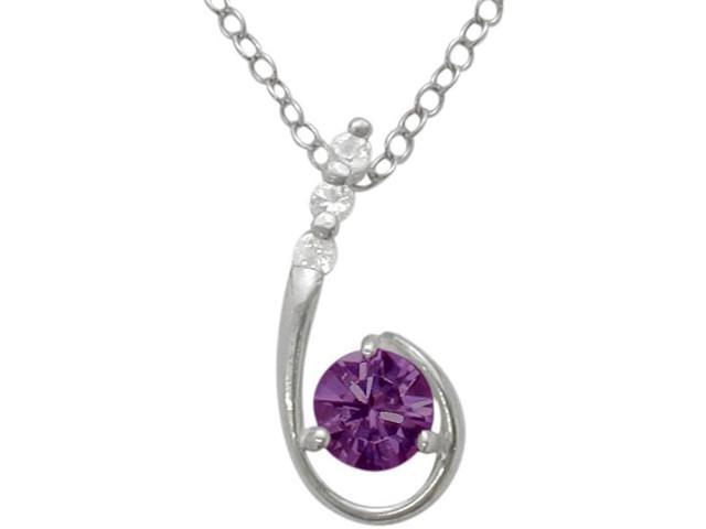 Sterling Silver Genuine Amethyst Pendant with a chain