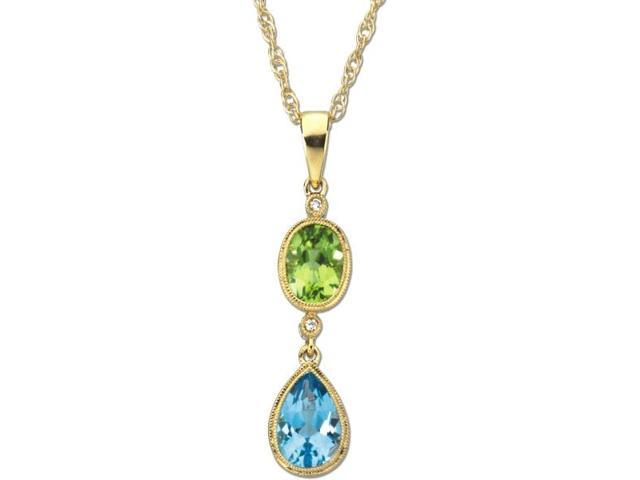 14 Karat Yellow Gold Multicolor Gemstone & Diamond Pendant with chain
