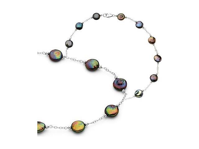 a Genuine Sterling Silver Black Coin Pearl Necklace