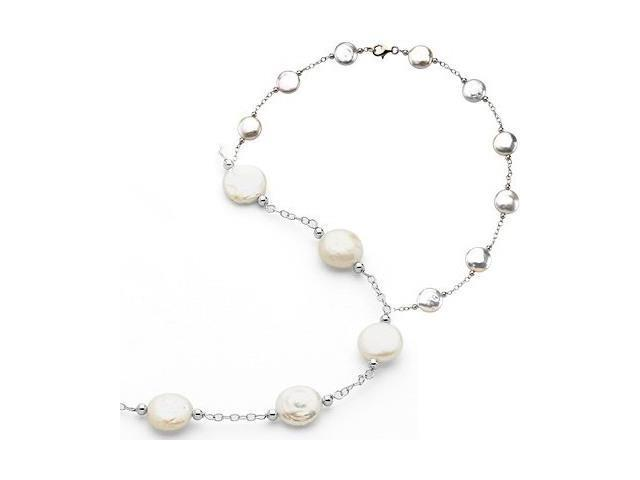 Genuine Sterling Silver White Coin Pearl Necklace