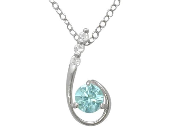 Sterling Silver Genuine Blue Topaz Pendant with a chain