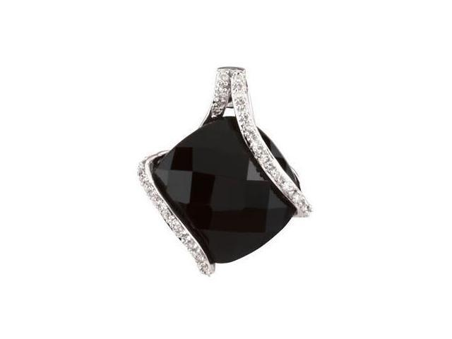 14 Karat White Gold Onyx & Diamond Pendant with a chain