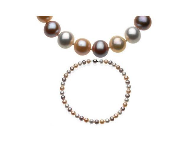 Genuine Sterling Silver Multicolour Pearl Necklace