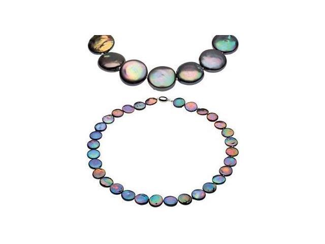 Black Coin Pearl a Genuine Sterling Silver Necklace