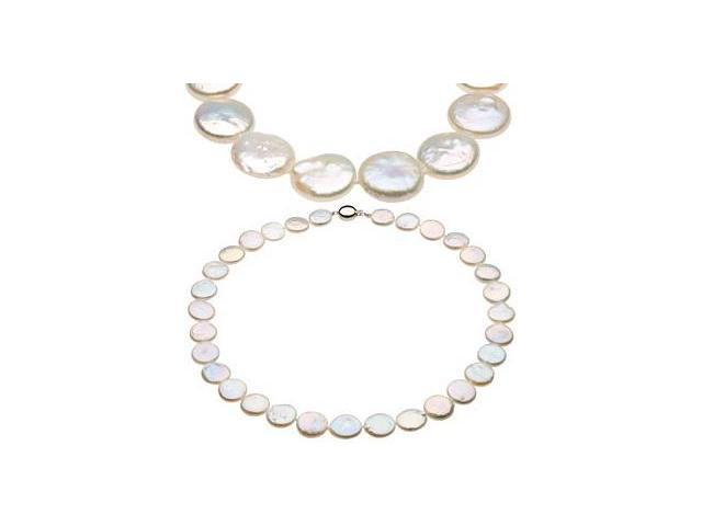 White Coin Pearl a Genuine Sterling Silver Necklace
