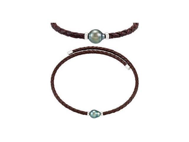 Genuine Sterling Silver & Rope Tahitian Black Pearl Necklace