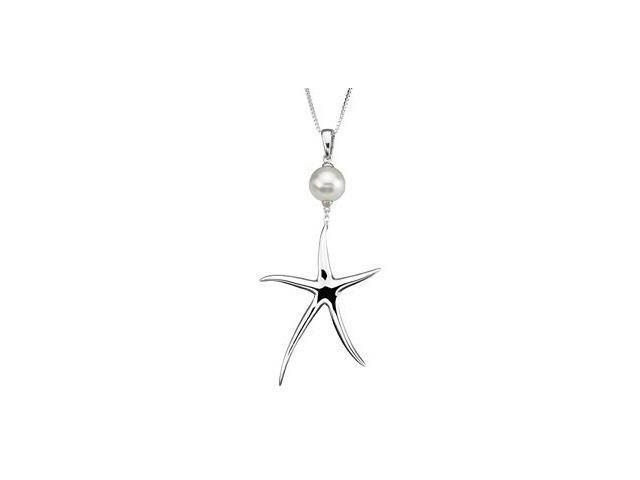 Sterling Silver Starfish & White Pearl Pendant with a chain