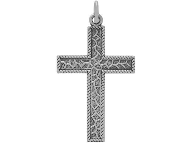 Detailed Genuine Sterling Silver Religious Cross with chain
