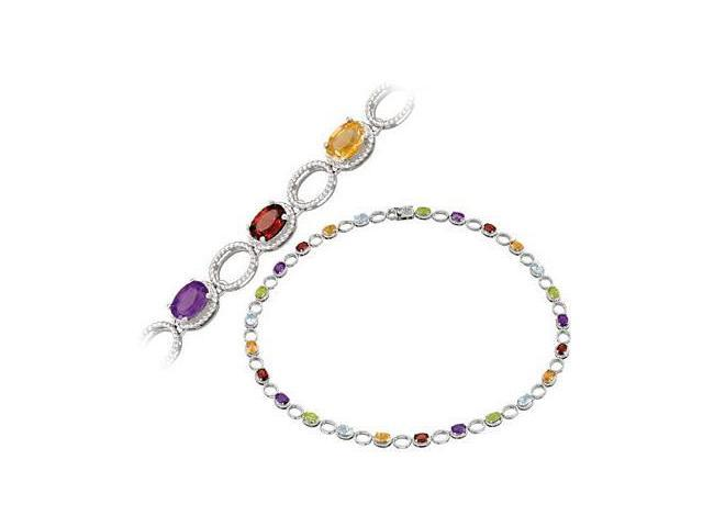 a Multi Gemstone Sterling Silver Necklace