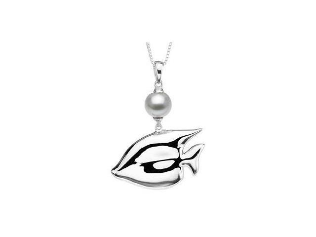 Sterling Silver Fish & White Pearl Pendant with chain