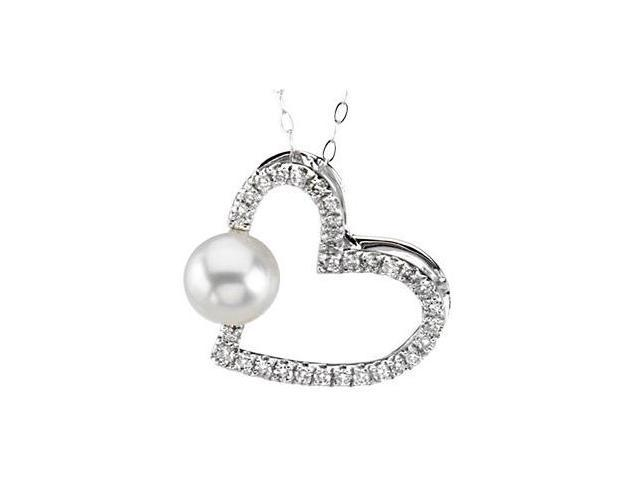 14 Karat White Gold Pearl & Diamond Heart Pendant with a chain