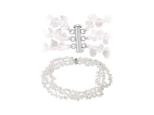 Genune Sterling Silver Multi-strand Crystal & Pearl 19 inch Necklace