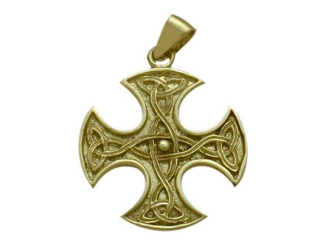 Celtic 10 Karat Gold 4 Way Trinity Knot Pendant with Chain