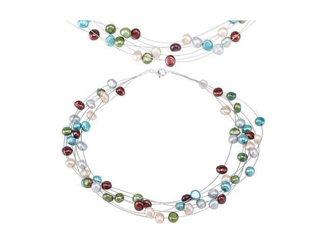 a Teal-Tone Multicolor Pearl Necklace