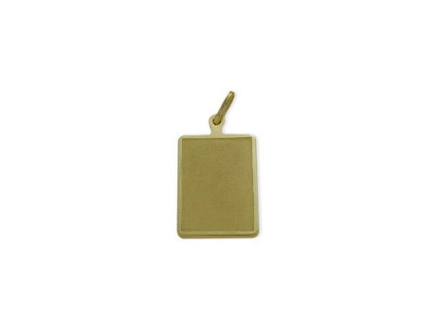 14 Karat Yellow Gold Satin Finish Rectangle Dog Tag with Chain