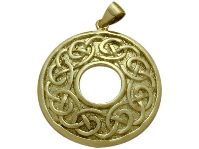 Large 10 Karat Yellow Gold Traditional Celtic Knot Pendant with Chain