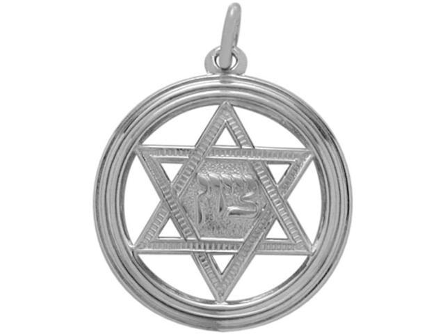 Genuine Sterling Silver Large Star of David Pendant with chain