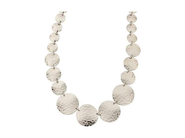 a Hammered Stainless Steel Circle Necklace