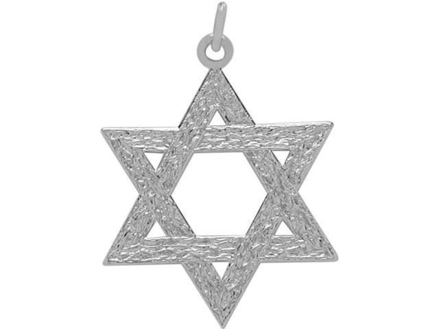 Genuine Sterling Silver Medium Detailed Star of David Pendant