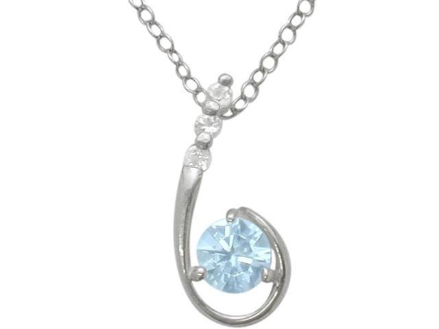 Sterling Silver Created Aquamarine Pendant with a chain