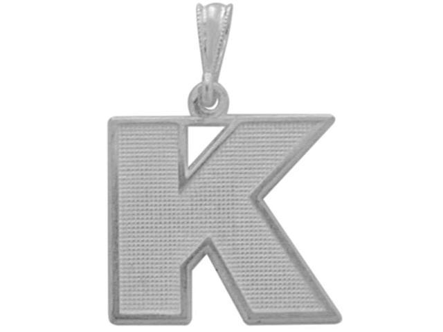 Sterling Silver Initial K Pendant with Chain
