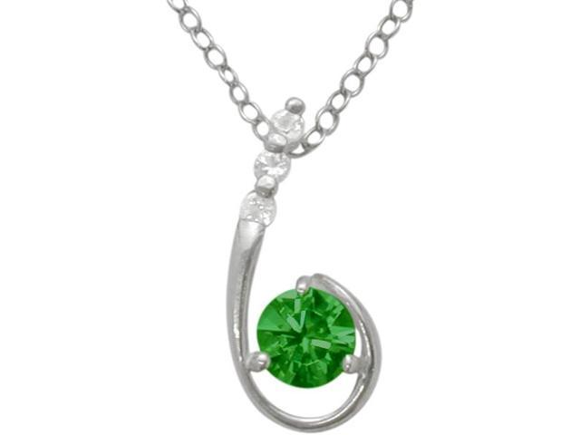 Sterling Silver Created Emerald Pendant with a chain