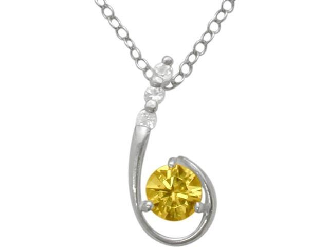 Sterling Silver Genuine Citrine Pendant with a chain