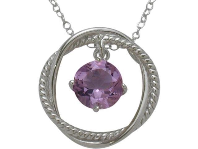 Ladies Genuine Sterling Silver Free Moving Amethyst Pendant with a chain