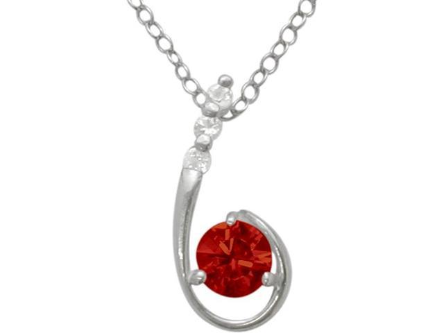 Sterling Silver Created Ruby Pendant with a chain
