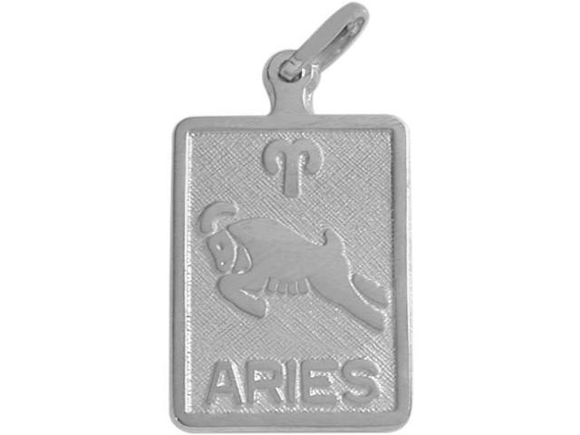 14 Karat White Gold Aries Zodiac Pendant with Chain
