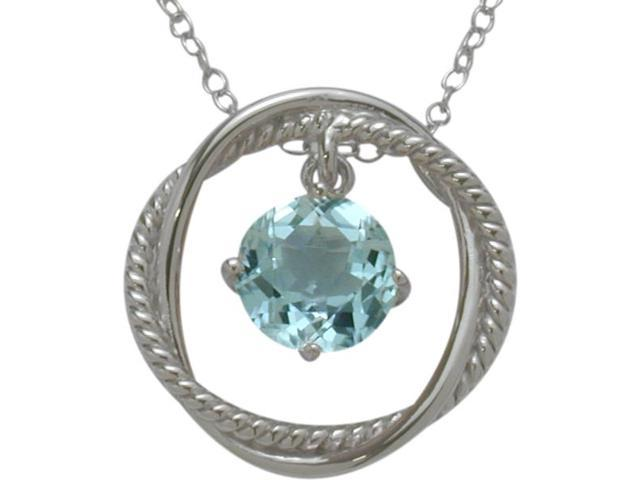 Ladies Genuine Sterling Silver Free Moving Blue Topaz Pendant with a chain