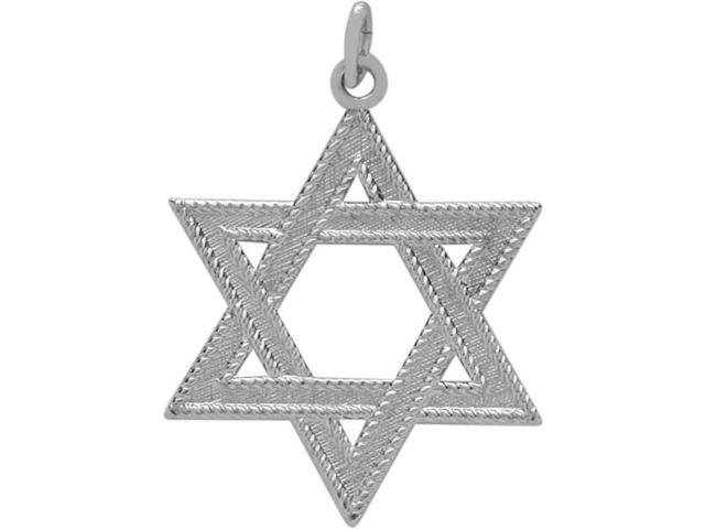 Large Genuine Sterling Silver Detailed Star of David Pendant with chain