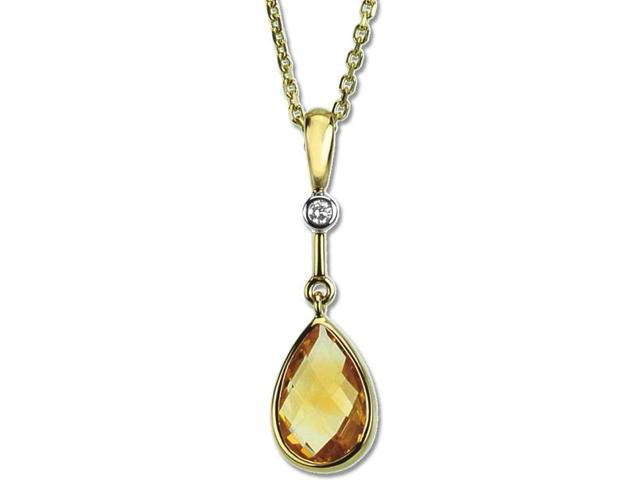 14 Karat Yellow Gold Citrine & Diamond Pendant with a chain