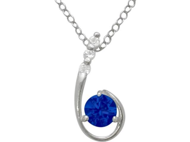 Sterling Silver Created Sapphire Pendant with a chain