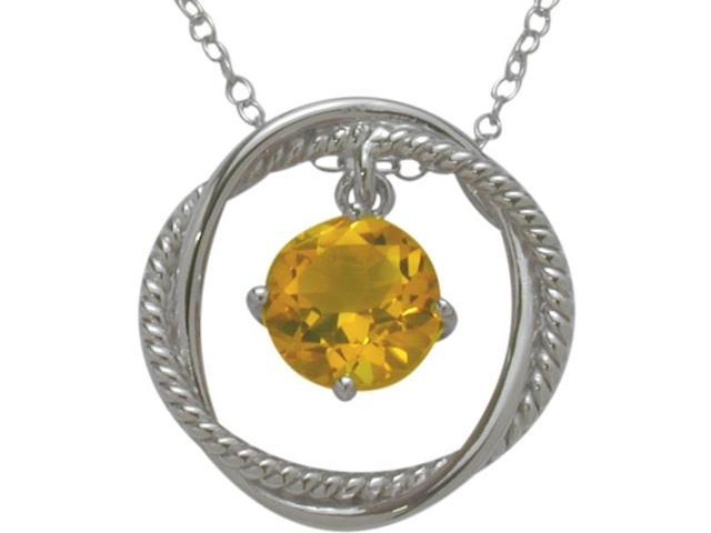 Ladies Genuine Sterling Silver Free Moving Citrine Pendant with a chain