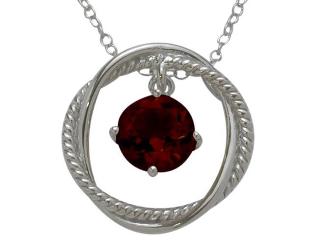 Ladies Genuine Sterling Silver Free Moving Garnet Pendant with a chain
