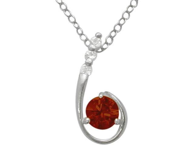 Sterling Silver Genuine Garnet Pendant with a chain
