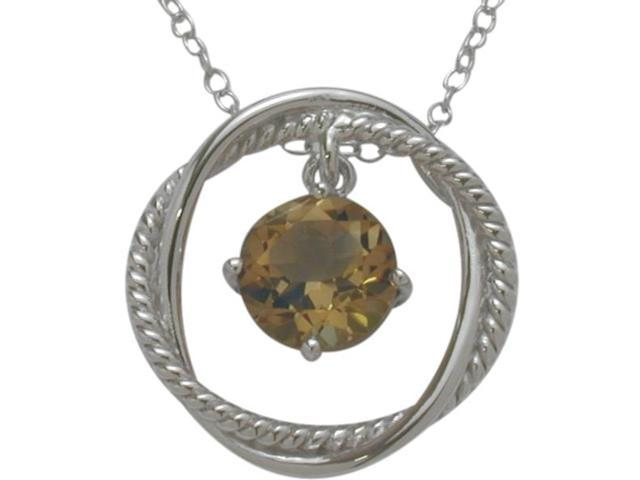 Ladies Genuine Sterling Silver Free Moving Smokey Quartz Pendant with a chain