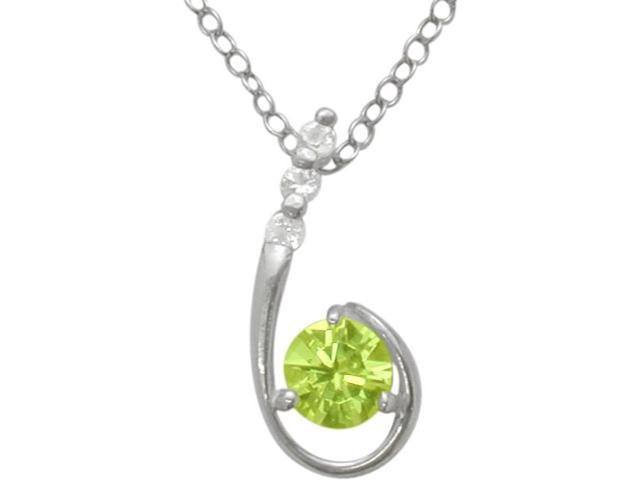 Sterling Silver Genuine Peridot Pendant with a chain