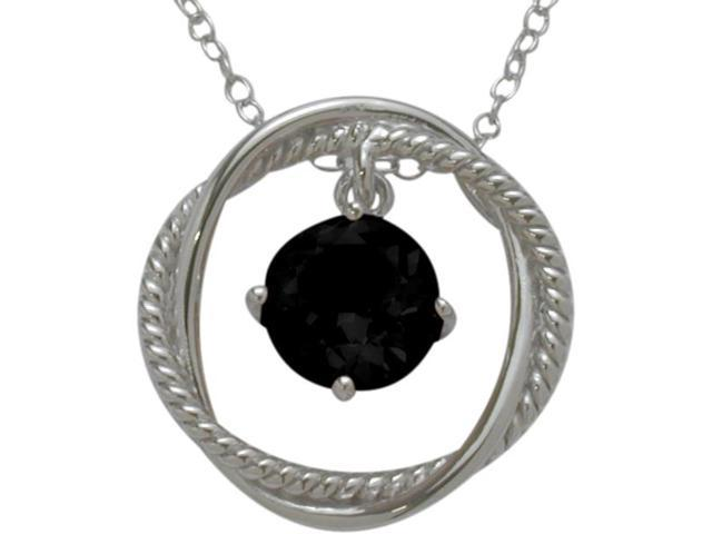 Ladies Genuine Sterling Silver Free Moving Onyx Pendant with a chain