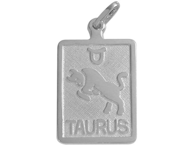 14 Karat White Gold Taurus Zodiac Pendant with Chain