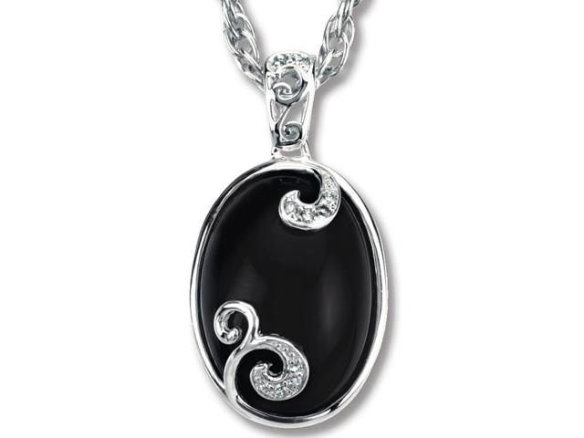 Sterling Silver Genuine Onyx & Diamond Pendant with a chain